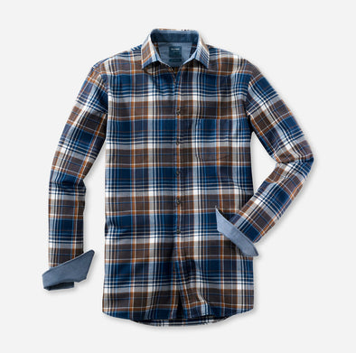 Olymp Casual Brown and Blue Check Shirt