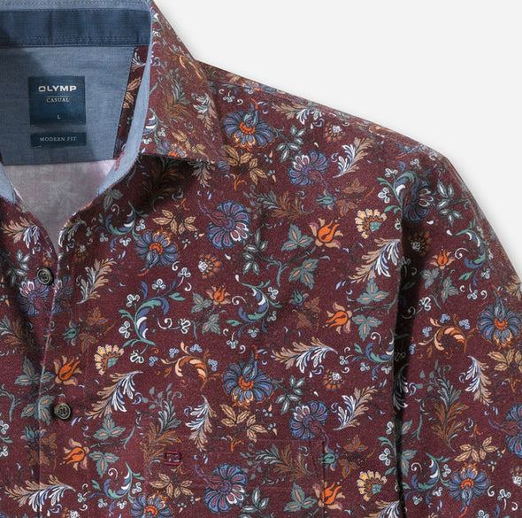 Olymp Kent Dark Red Printed Shirt