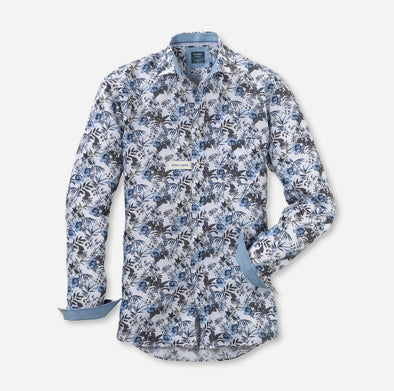 Olymp White & Blue Flower Linen Long Sleeved Shirt