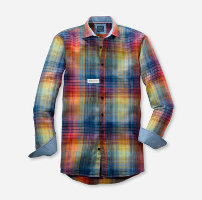 Olymp Multi Check Linen Long Sleeved Shirt