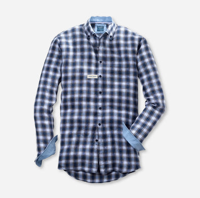 Olymp Blue Check Linen Long Sleeved Shirt