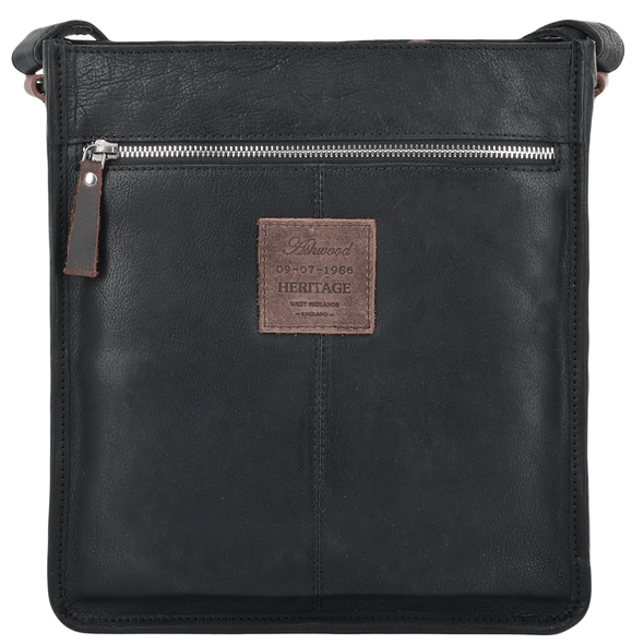 Ashwood Leather Stratford Black Three Pocket Medium Travel Bag