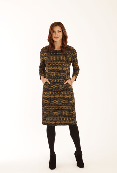 Pomodoro Black/Mustard Colour Midi Dress
