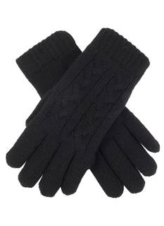 DENTS Women's Black Cable Knit Gloves