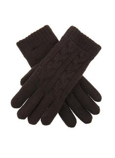 DENTS Women's Chocolate Cable Knit Gloves