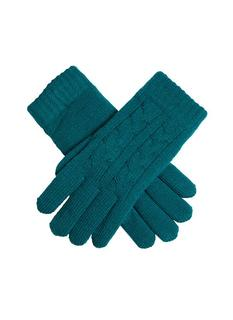 DENTS Women's Green Cable Knit Gloves