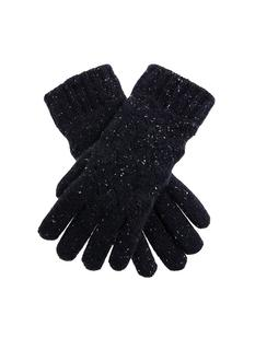 DENTS Women's Navy Lace Knit Pattern Gloves