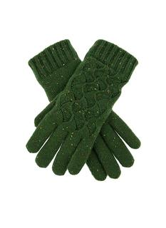DENTS Women's Green Lace Knit Pattern Gloves