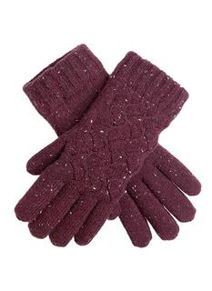 DENTS Women's Plum Lace Knit Pattern Gloves