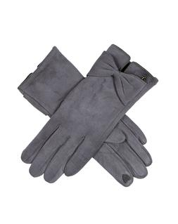 DENTS Women's Charcoal Touchsreen Faux Suede Gloves