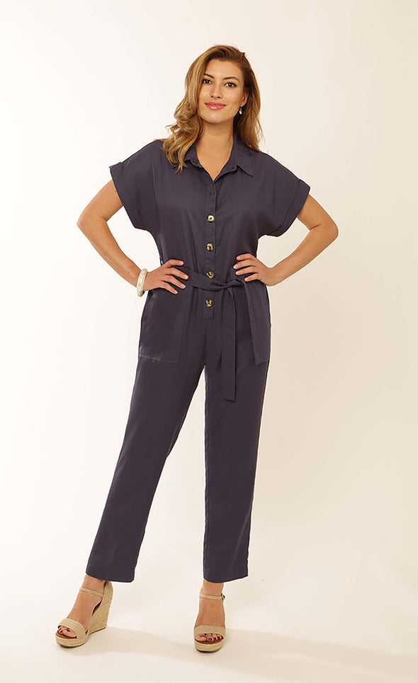 Pomodoro Denim Solid Tencel Jumpsuit