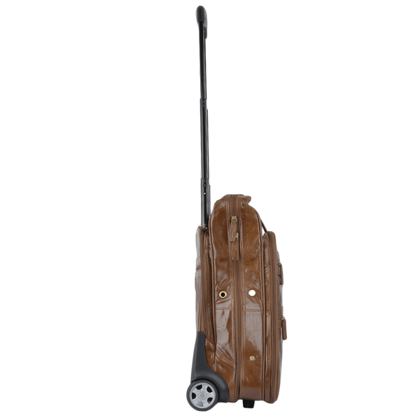 Ashwood Leather Knightsbridge Chestnut Wheeled Suit Carrier