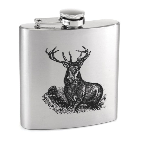 Sophos 6oz Stainless Steel Stag Hip Flask