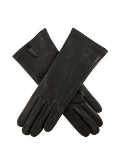 DENTS Women's Black Silk Lined Leather Gloves