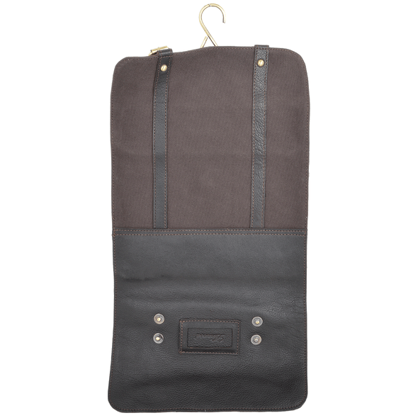 Ashwood Leather & Canvas Hammersmith Mud Hanging Wash Bag