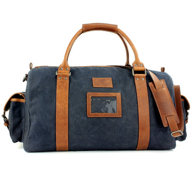 The British Bag Company Navigator Navy Wax Canvas Holdall
