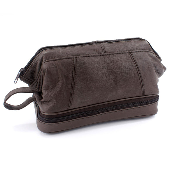 Sophos Gladstone Style Brown Leather Wash Bag