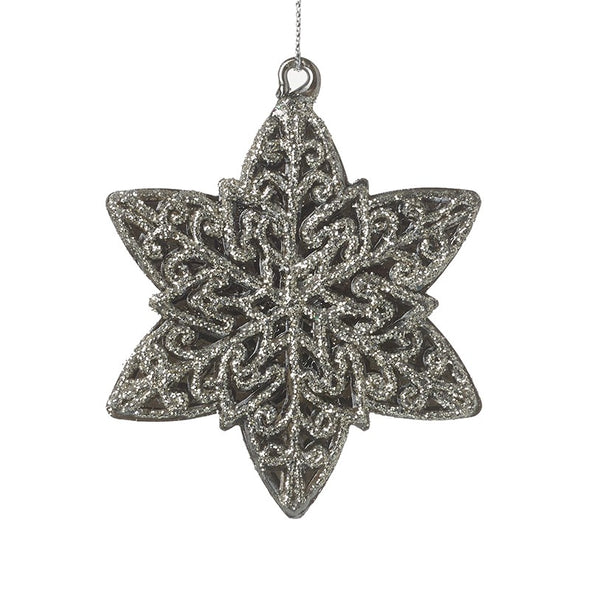 HEAVEN SENDS - Silver Glass Star Tree Decoration