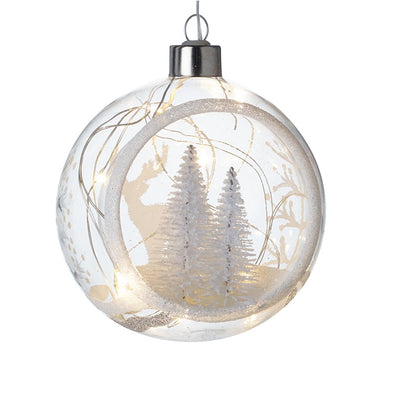 HEAVEN SENDS - Light Up Glass Bauble With White Trees
