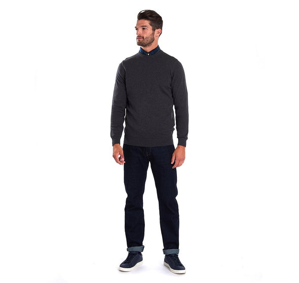 Barbour Pima Cotton Charcoal Crew Neck Jumper