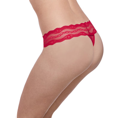 B Tempt'd Lace Kiss Red Thong