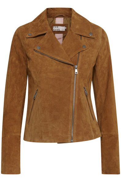 B Young Bycora Tan Suede Leather Biker Jacket