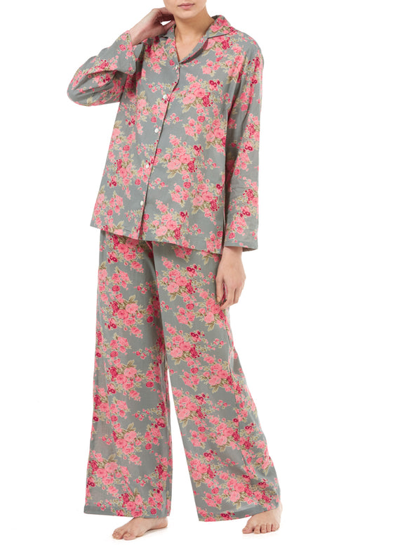 Gabrielle Parker Cotton Pyjamas - Antique Green Vintage Rose