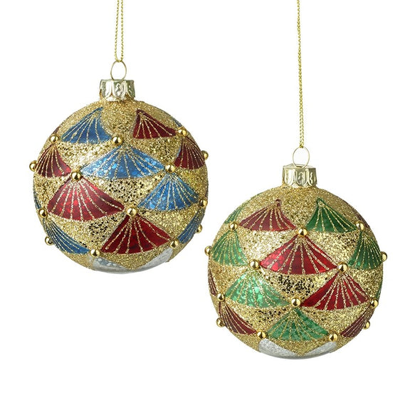 HEAVEN SENDS - Red Green & Blue Glitter Baubles