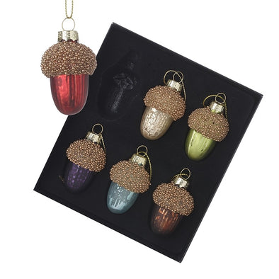 HEAVEN SENDS - Coloured Glass Acorn Baubles Set