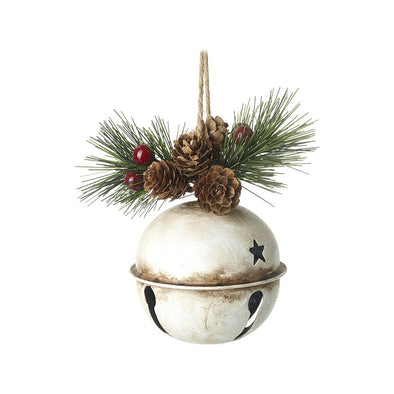 HEAVEN SENDS - Rustic White Bell With Pinecones