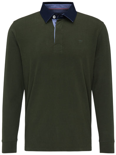 Fynch-Hatton Green Half Button Long Sleeve Knit Top