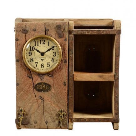BESPOAK Recycled Brick Mould Clock with 2 Shelves