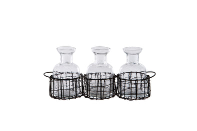 London Ornaments Bottles Set of 3 in Wire Basket