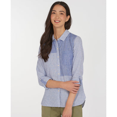 Barbour Beachfront Cotton/Linen Mix Blue Shirt