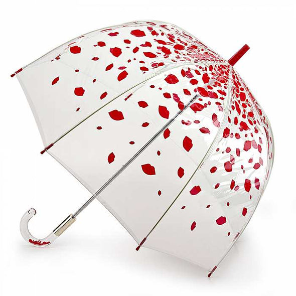 Lulu Guinness By Fulton Birdcage Raining Lips Umbrella