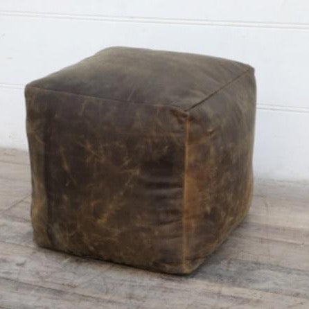 BESPOAK Square Brushed Buffalo Leather Pouffe