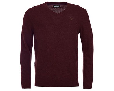 Barbour Essential Merlot Lambswool V Neck Jumper