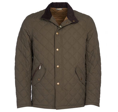 Barbour Shoveler Quilted Coat in Green
