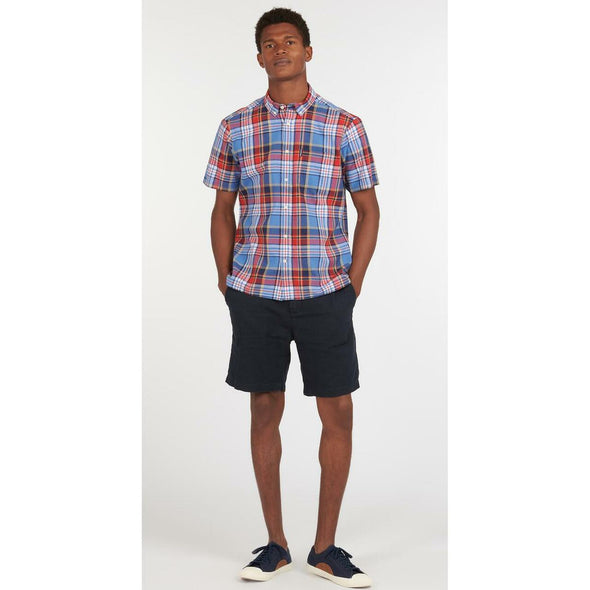 Barbour Madras 9 Mid Blue Short Sleeved Tailored Shirt