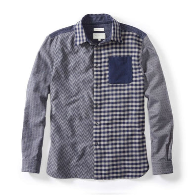 Peregrine Brushed Cotton Blue Patchwork Shirt