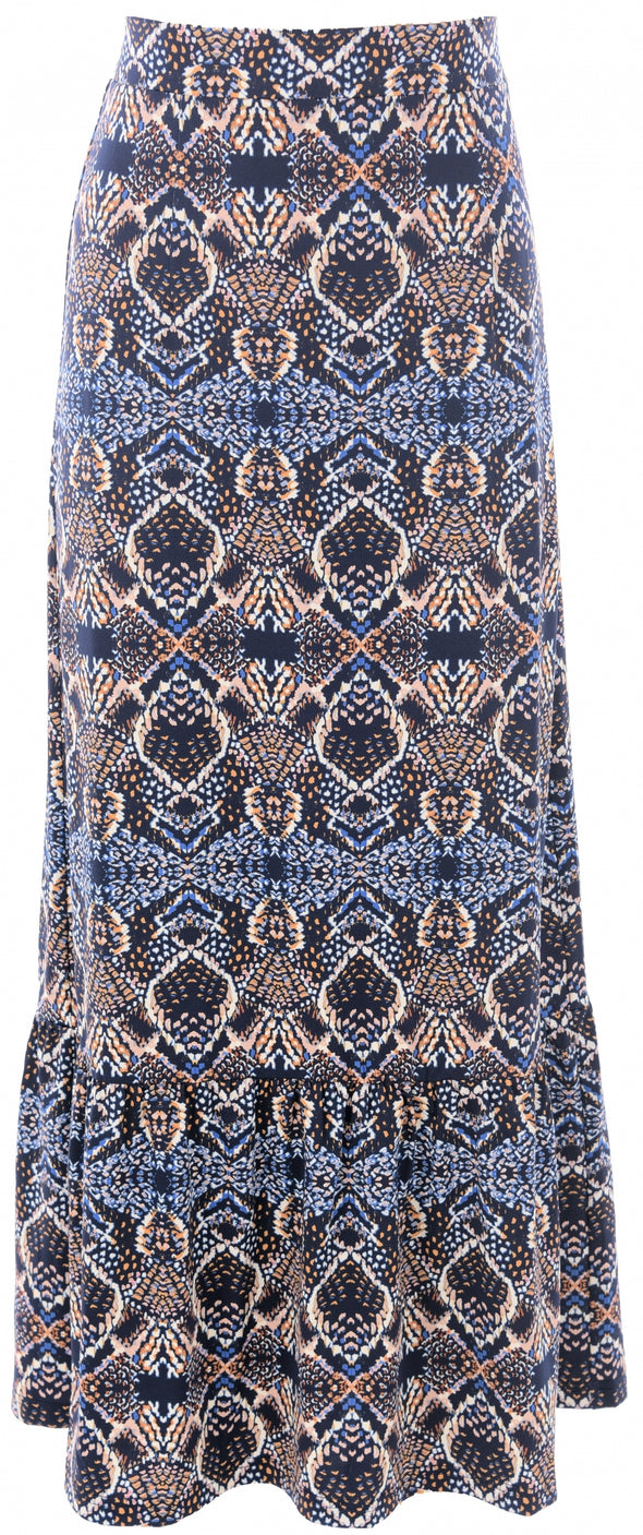 K Design Blue Print Maxi Skirt