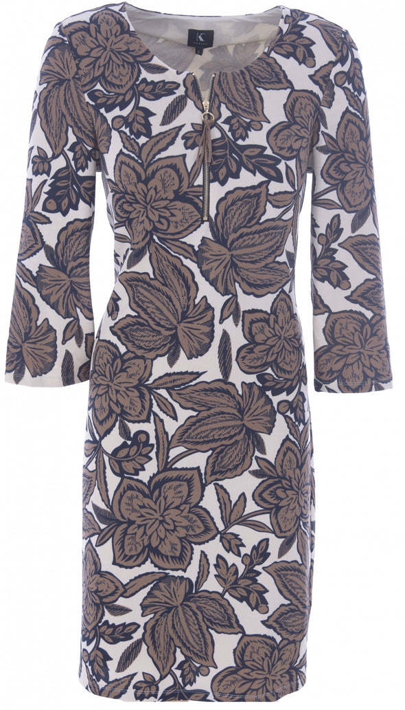 K Design Leaf Print Dress