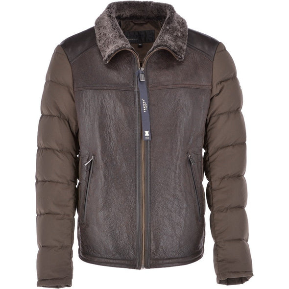 Trapper Sheepskin Leather and Padded Olive/Brown Jacket