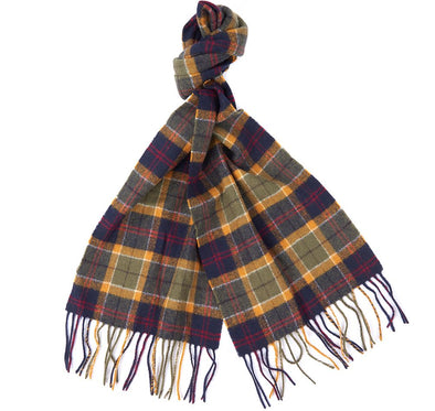 Barbour Green Tartan Lambswool Scarf