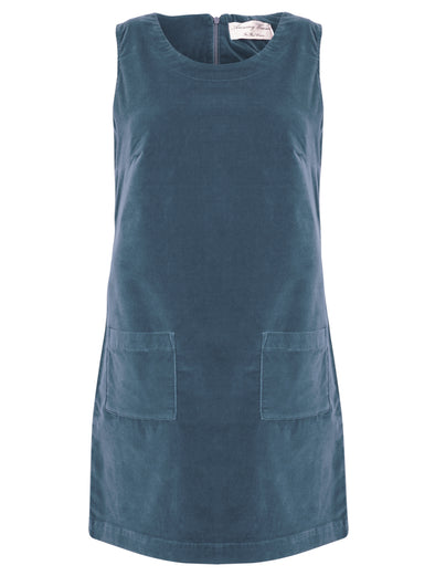 Amazing Woman Blue Velvet Pinafore Dress