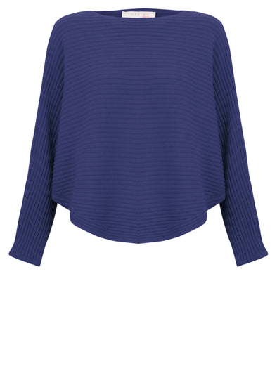 Amazing Woman Batwing Cross Ribbed Jumper Blue
