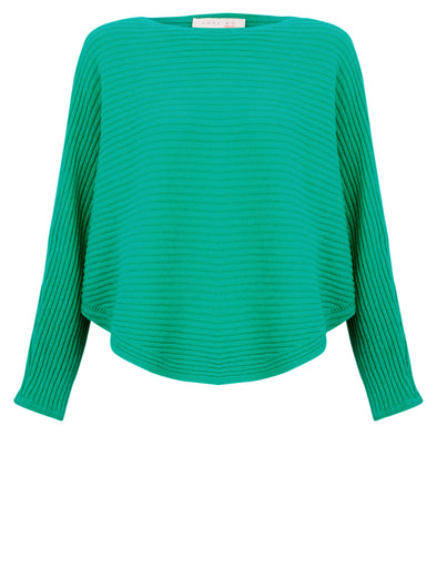 Amazing Woman Green Batwing Cross Ribbed Jumper