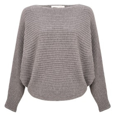 Amazing Woman Batwing Cross Ribbed Jumper Charcoal