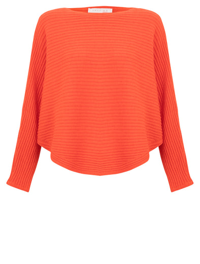 Amazing Woman Batwing Orange Cross Ribbed Jumper