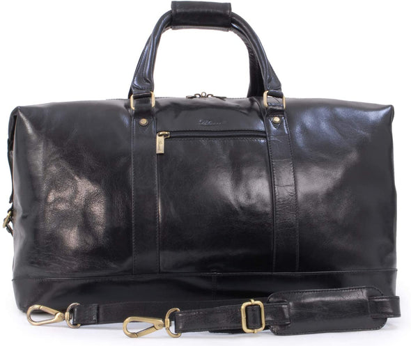 Ashwood Leather Battersea Black Large Vintage Travel Holdall